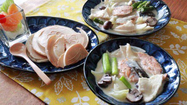 鮭とせんべいのシチュー